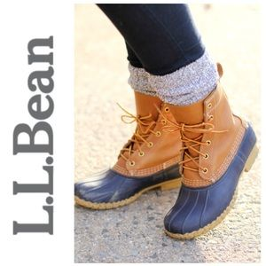 LL Bean Original women's bean duck boot *tan/navy*